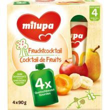 MILUPA gourdes cocktail de fruits 4 x 90 g