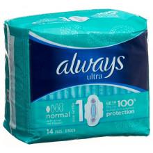 ALWAYS Ultra serviettes hygiéniques Normal avec ailettes 14 pce